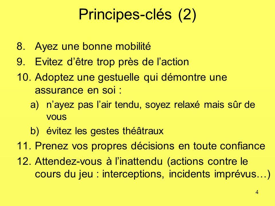 4 Principes-clés (2) 8.Ayez une bonne mobilité 9.Evitez dêtre trop près de laction 10.Adoptez une gestuelle qui démontre une assurance en soi : a)naye