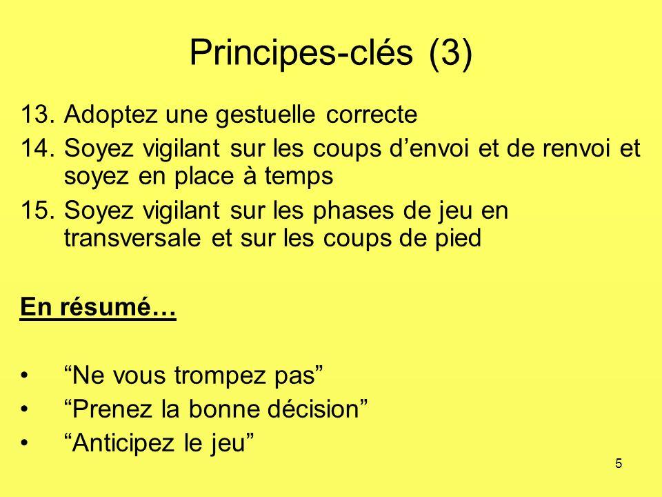 5 Principes-clés (3) 13.Adoptez une gestuelle correcte 14.Soyez vigilant sur les coups denvoi et de renvoi et soyez en place à temps 15.Soyez vigilant