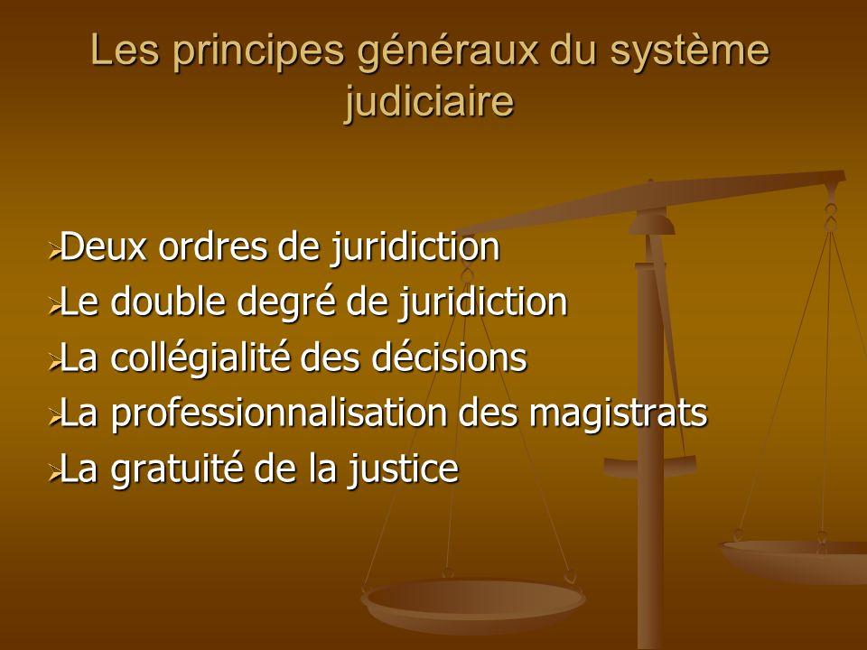 Les principes généraux du système judiciaire Deux ordres de juridiction Deux ordres de juridiction Le double degré de juridiction Le double degré de j