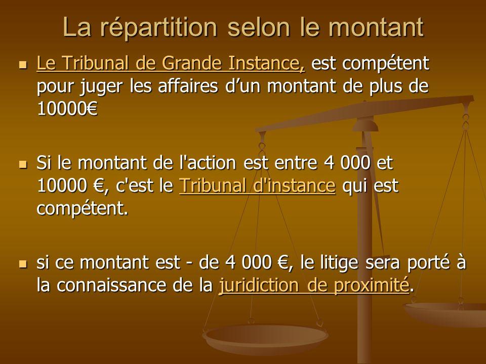 La répartition selon le montant Le Tribunal de Grande Instance, est compétent pour juger les affaires dun montant de plus de 10000 Le Tribunal de Gran