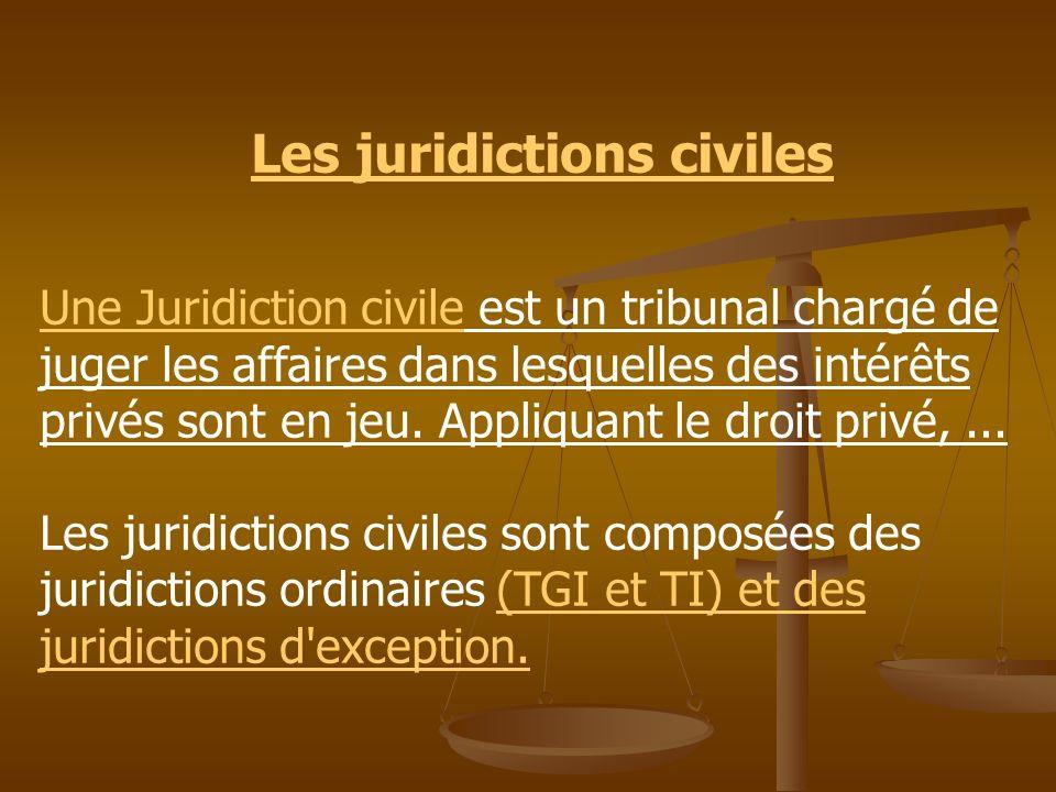 Les juridictions civiles Une Juridiction civile est un tribunal chargé de juger les affaires dans lesquelles des intérêts privés sont en jeu. Appliqua