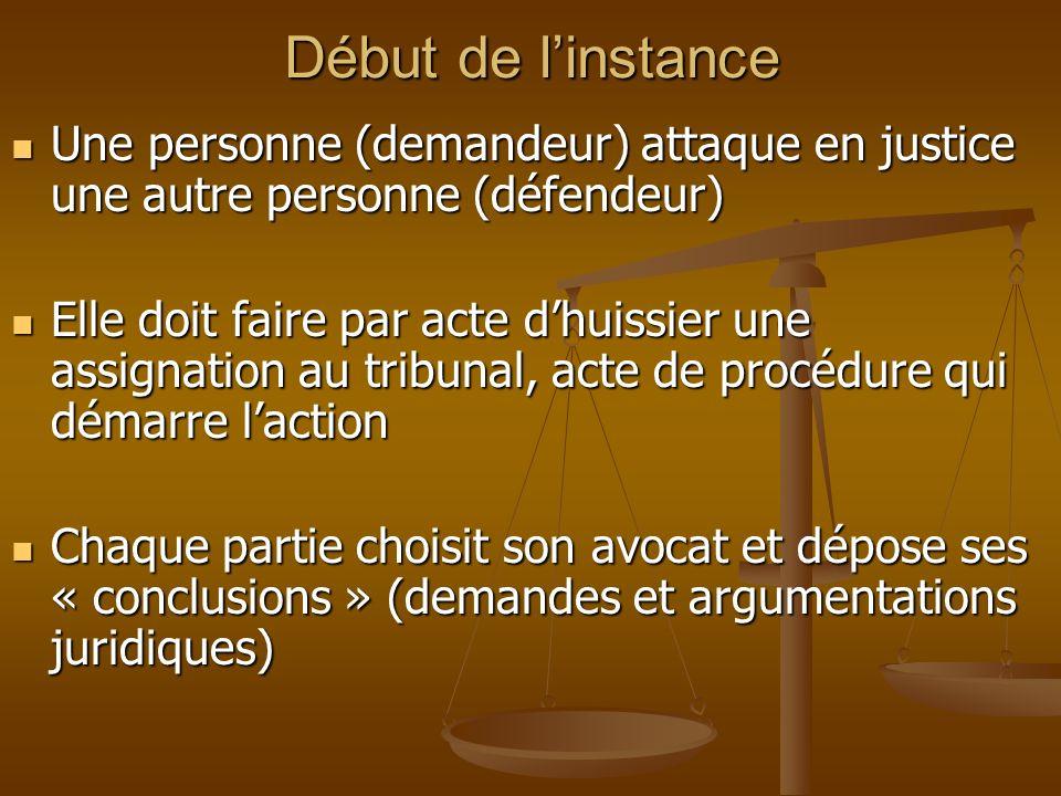 Début de linstance Une personne (demandeur) attaque en justice une autre personne (défendeur) Une personne (demandeur) attaque en justice une autre pe