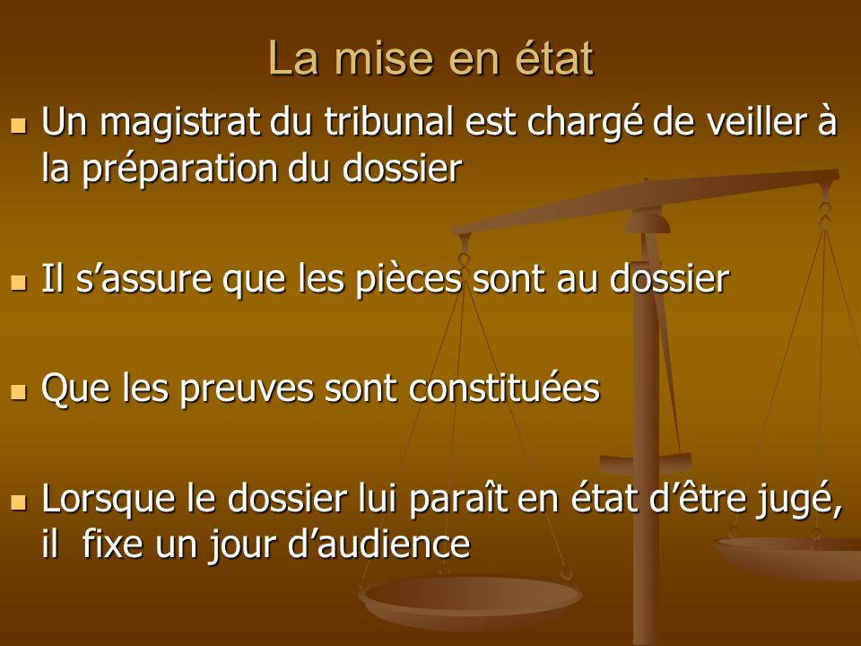 La mise en état Un magistrat du tribunal est chargé de veiller à la préparation du dossier Un magistrat du tribunal est chargé de veiller à la prépara