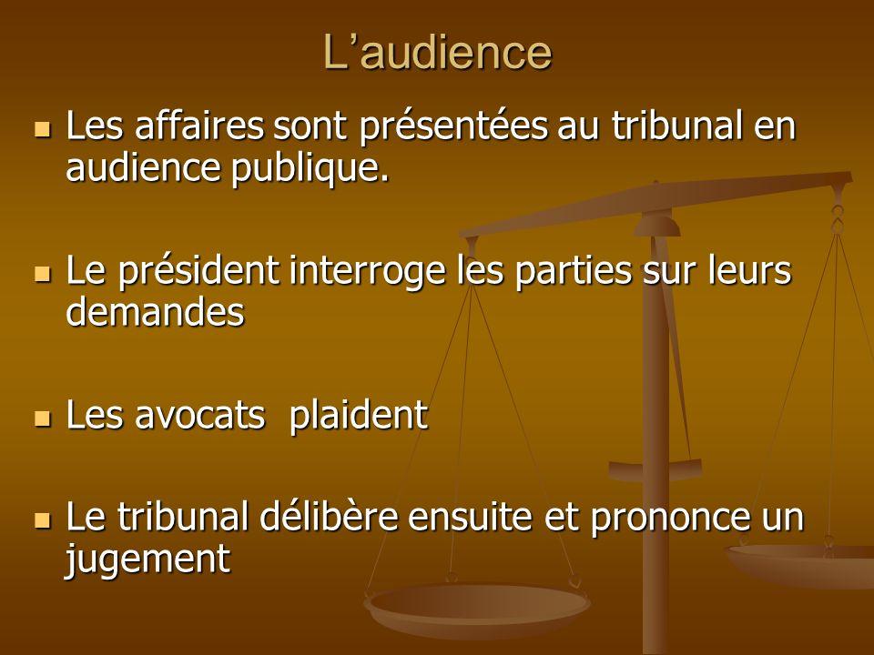 Laudience Les affaires sont présentées au tribunal en audience publique. Les affaires sont présentées au tribunal en audience publique. Le président i