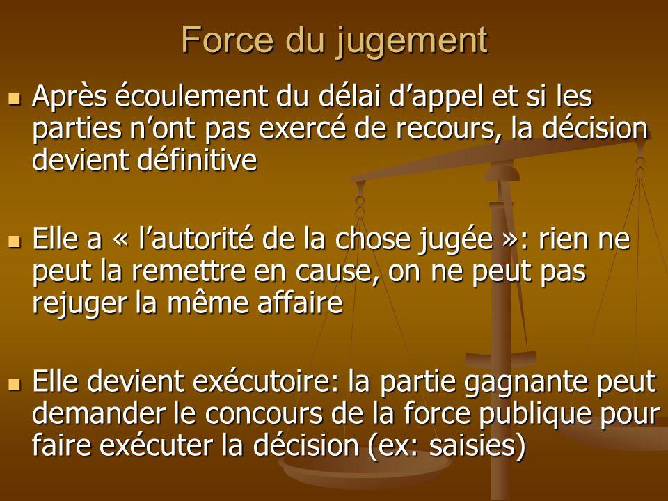 Force du jugement Après écoulement du délai dappel et si les parties nont pas exercé de recours, la décision devient définitive Après écoulement du dé