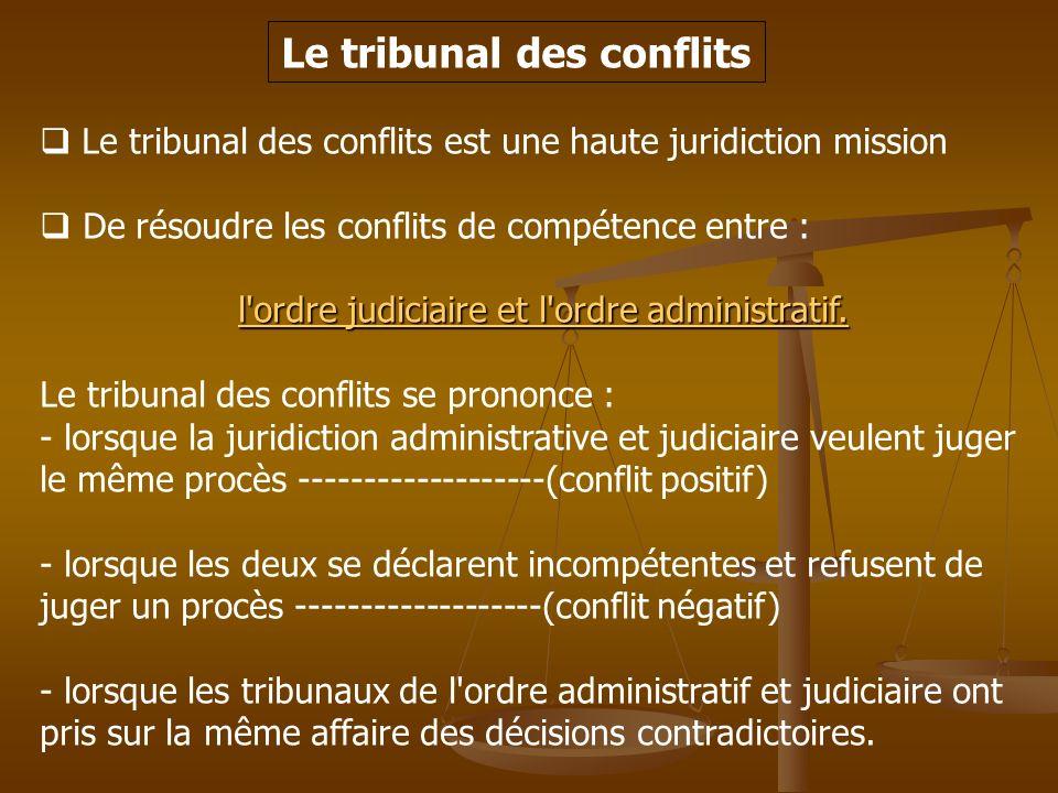 Le tribunal des conflits Le tribunal des conflits est une haute juridiction mission De résoudre les conflits de compétence entre : l'ordre judiciaire