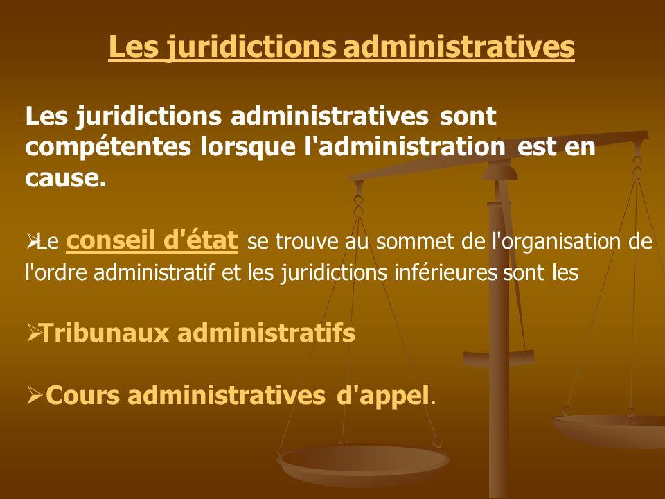 Les juridictions administratives Les juridictions administratives sont compétentes lorsque l'administration est en cause. Le conseil d'état se trouve