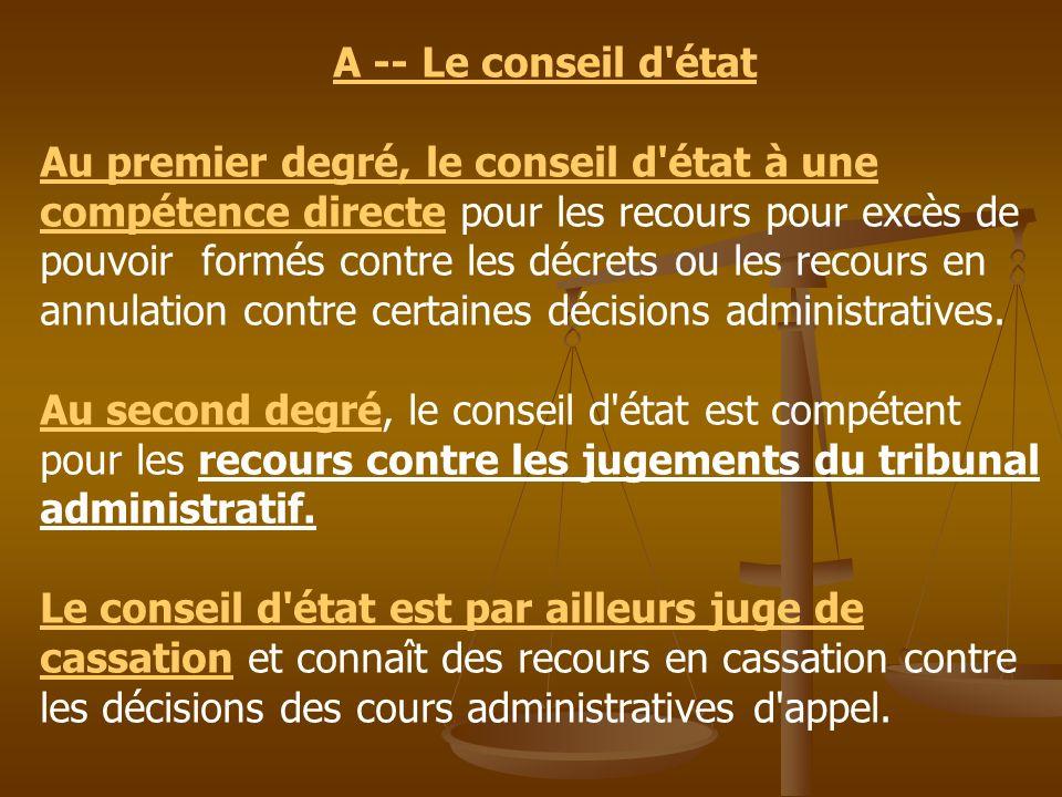 A -- Le conseil d'état Au premier degré, le conseil d'état à une compétence directe pour les recours pour excès de pouvoir formés contre les décrets o