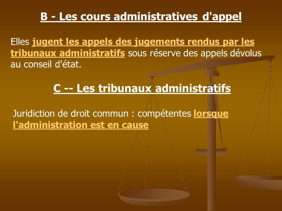 B - Les cours administratives d'appel Elles jugent les appels des jugements rendus par les tribunaux administratifs sous réserve des appels dévolus au