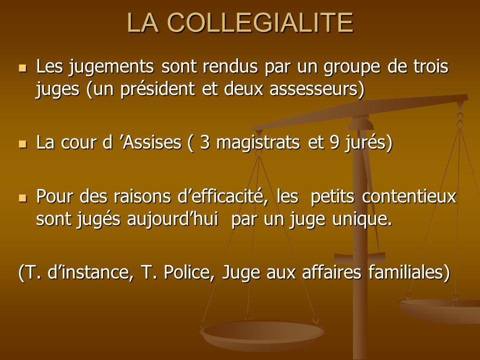 LA COLLEGIALITE Les jugements sont rendus par un groupe de trois juges (un président et deux assesseurs) Les jugements sont rendus par un groupe de tr