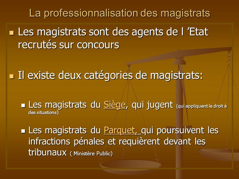 La professionnalisation des magistrats Les magistrats sont des agents de l Etat recrutés sur concours Les magistrats sont des agents de l Etat recruté