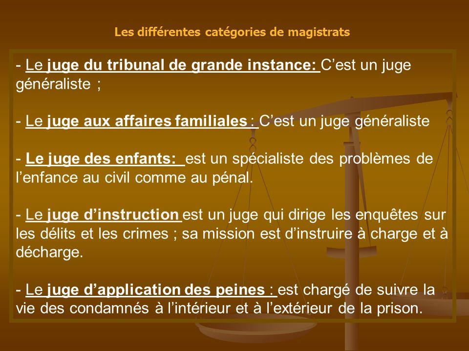 Les différentes catégories de magistrats - Le juge du tribunal de grande instance: Cest un juge généraliste ; - Le juge aux affaires familiales : Cest