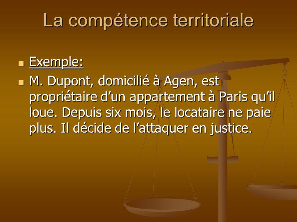 La compétence territoriale Exemple: Exemple: M. Dupont, domicilié à Agen, est propriétaire dun appartement à Paris quil loue. Depuis six mois, le loca