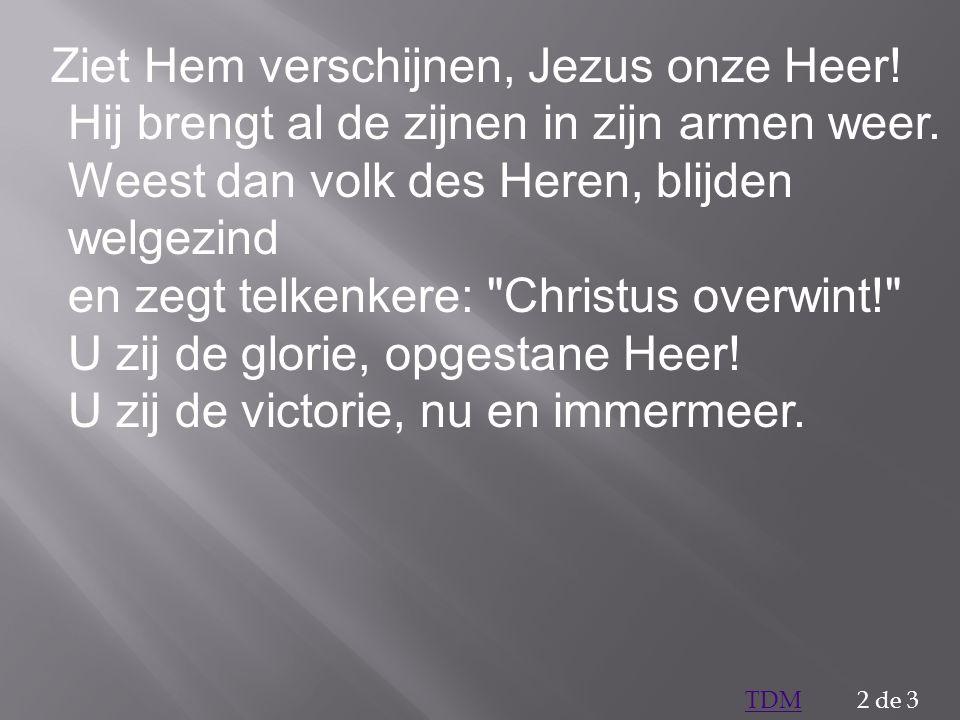 Ziet Hem verschijnen, Jezus onze Heer! Hij brengt al de zijnen in zijn armen weer. Weest dan volk des Heren, blijden welgezind en zegt telkenkere: