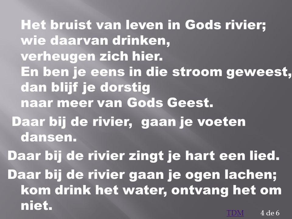 Het bruist van leven in Gods rivier; wie daarvan drinken, verheugen zich hier. En ben je eens in die stroom geweest, dan blijf je dorstig naar meer va