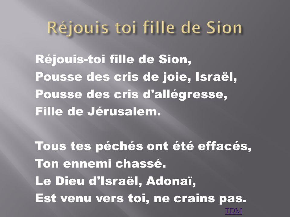 Réjouis-toi fille de Sion, Pousse des cris de joie, Israël, Pousse des cris d'allégresse, Fille de Jérusalem. Tous tes péchés ont été effacés, Ton enn