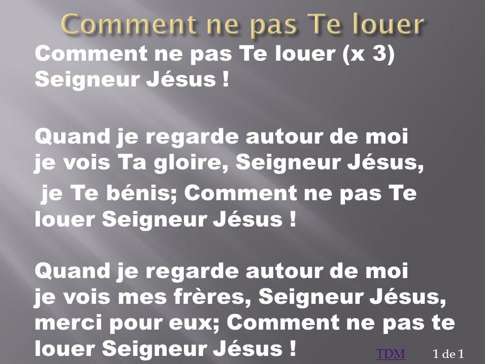 Comment ne pas Te louer (x 3) Seigneur Jésus ! Quand je regarde autour de moi je vois Ta gloire, Seigneur Jésus, je Te bénis; Comment ne pas Te louer