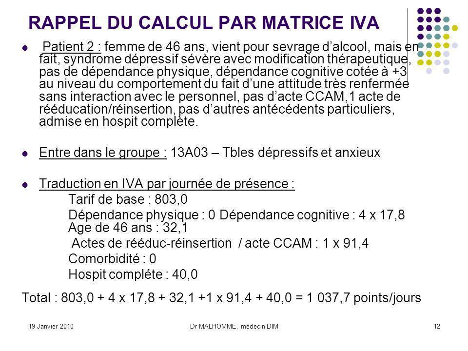 19 Janvier 2010Dr MALHOMME, médecin DIM12 RAPPEL DU CALCUL PAR MATRICE IVA Patient 2 : femme de 46 ans, vient pour sevrage dalcool, mais en fait, synd