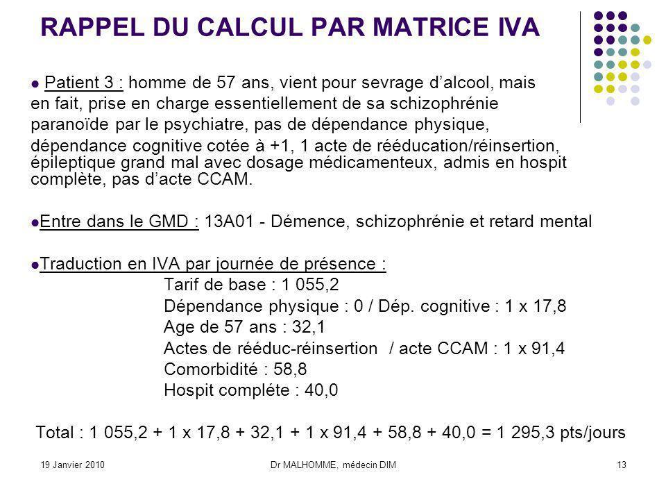 19 Janvier 2010Dr MALHOMME, médecin DIM13 RAPPEL DU CALCUL PAR MATRICE IVA Patient 3 : homme de 57 ans, vient pour sevrage dalcool, mais en fait, pris