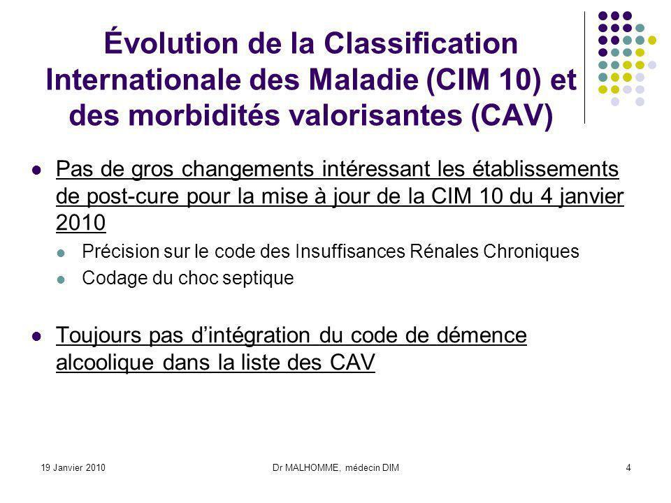 19 Janvier 2010Dr MALHOMME, médecin DIM4 Évolution de la Classification Internationale des Maladie (CIM 10) et des morbidités valorisantes (CAV) Pas d