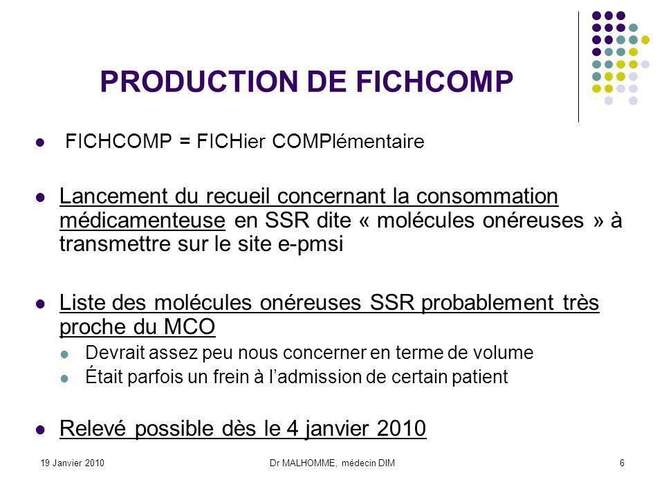 19 Janvier 2010Dr MALHOMME, médecin DIM6 PRODUCTION DE FICHCOMP FICHCOMP = FICHier COMPlémentaire Lancement du recueil concernant la consommation médi