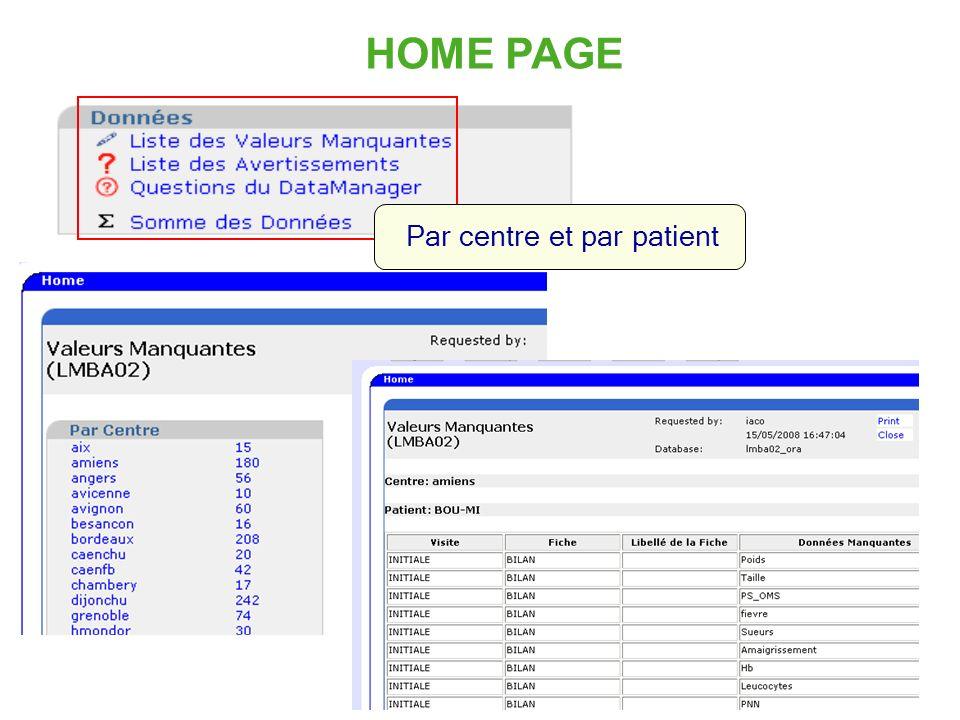 15 HOME PAGE Par centre et par patient