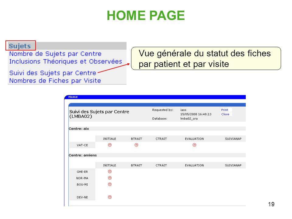 19 Vue générale du statut des fiches par patient et par visite HOME PAGE