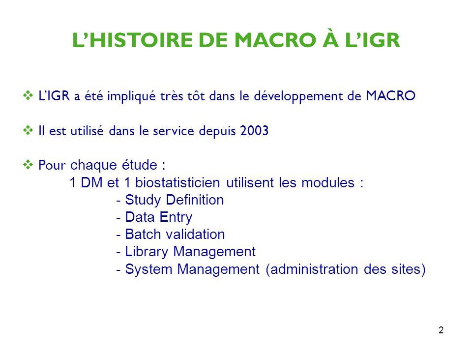 2 LHISTOIRE DE MACRO À LIGR LIGR a été impliqué très tôt dans le développement de MACRO Il est utilisé dans le service depuis 2003 Pour chaque étude :