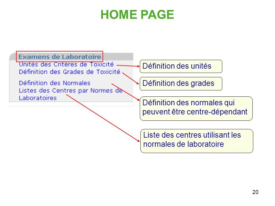 20 HOME PAGE Définition des unités Définition des grades Définition des normales qui peuvent être centre-dépendant Liste des centres utilisant les nor