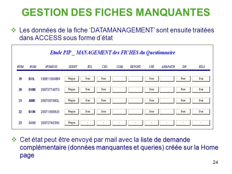 24 GESTION DES FICHES MANQUANTES Les données de la fiche DATAMANAGEMENT sont ensuite traitées dans ACCESS sous forme détat liste de demande complément