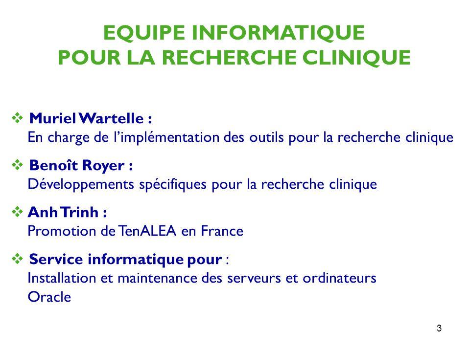 3 Muriel Wartelle : En charge de limplémentation des outils pour la recherche clinique Benoît Royer : Développements spécifiques pour la recherche cli