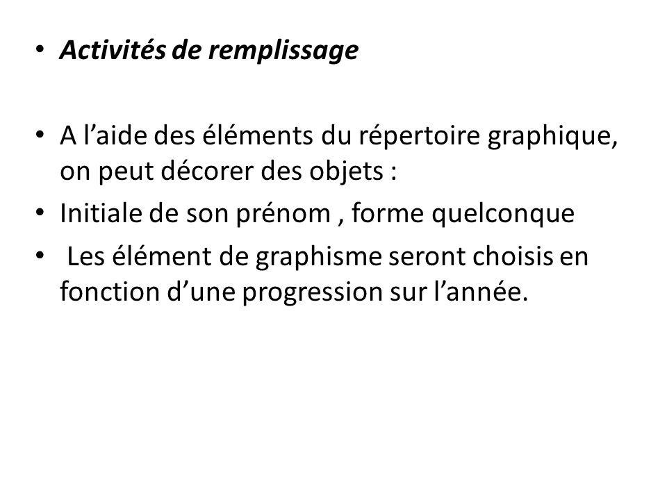 Activités de remplissage A laide des éléments du répertoire graphique, on peut décorer des objets : Initiale de son prénom, forme quelconque Les éléme