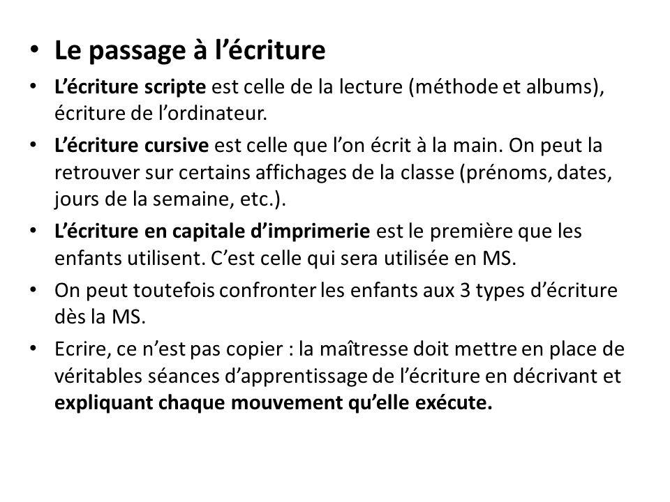 Le passage à lécriture Lécriture scripte est celle de la lecture (méthode et albums), écriture de lordinateur. Lécriture cursive est celle que lon écr