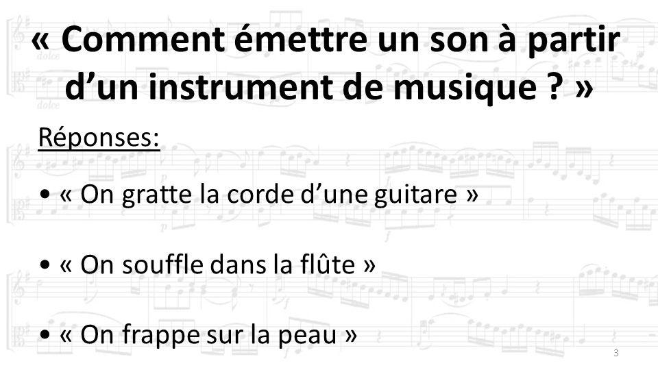 3 « Comment émettre un son à partir dun instrument de musique ? » Présentation de la maquette Réponses: « On gratte la corde dune guitare » « On souff