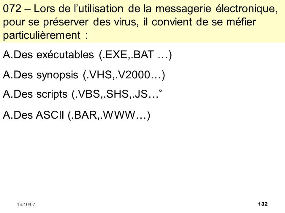 132 16/10/07 072 – Lors de lutilisation de la messagerie électronique, pour se préserver des virus, il convient de se méfier particulièrement : A.Des exécutables (.EXE,.BAT …) A.Des synopsis (.VHS,.V2000…) A.Des scripts (.VBS,.SHS,.JS…° A.Des ASCII (.BAR,.WWW…)