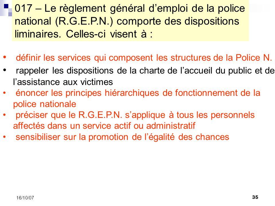 35 16/10/07 définir les services qui composent les structures de la Police N.