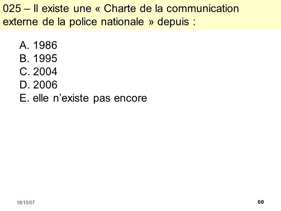 50 16/10/07 A. 1986 B. 1995 C. 2004 D. 2006 E.