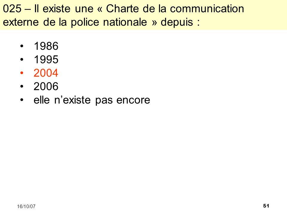 51 16/10/07 1986 1995 2004 2006 elle nexiste pas encore 025 – Il existe une « Charte de la communication externe de la police nationale » depuis :