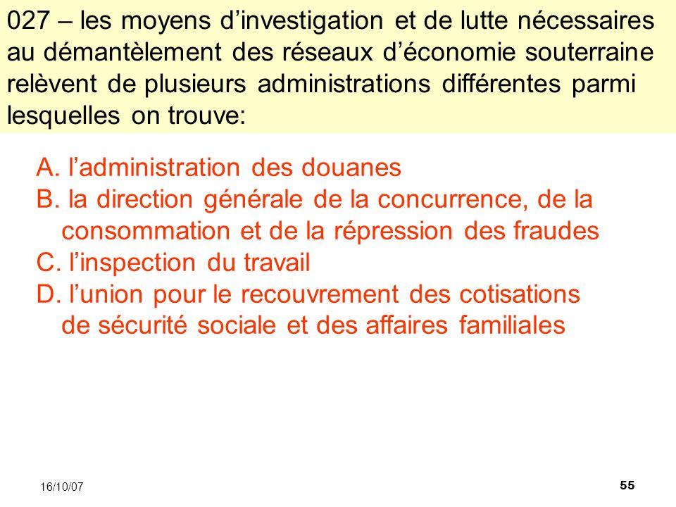 55 16/10/07 A. ladministration des douanes B.