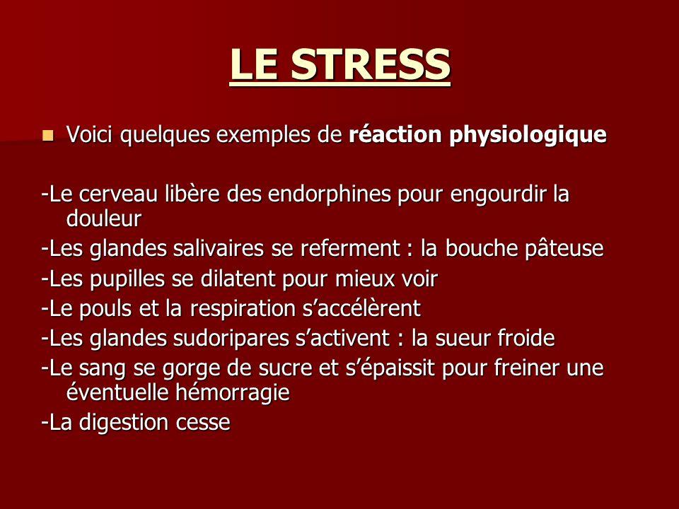 LE STRESS Voici quelques exemples de réaction physiologique Voici quelques exemples de réaction physiologique -Le cerveau libère des endorphines pour