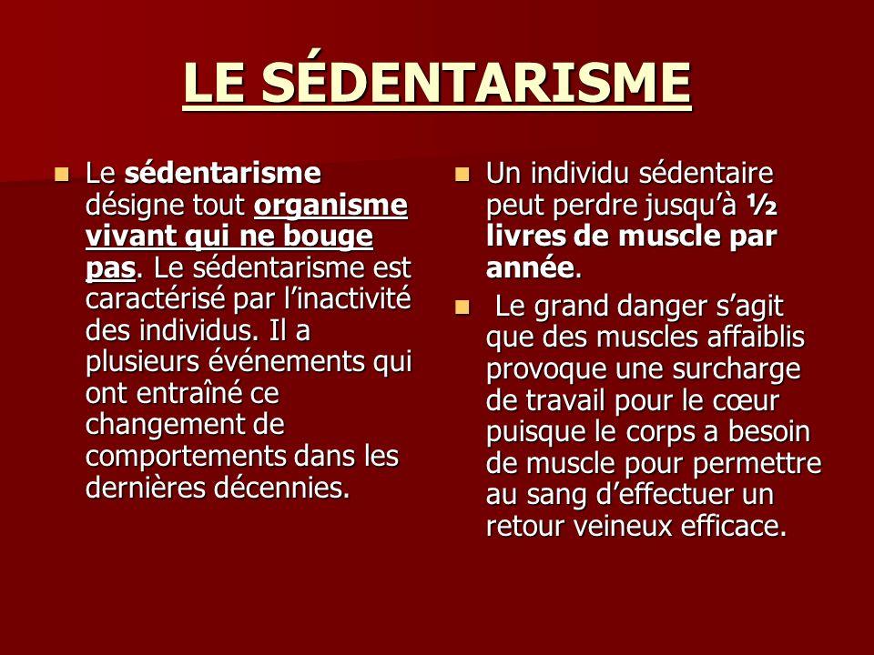 LE SÉDENTARISME Le sédentarisme désigne tout organisme vivant qui ne bouge pas. Le sédentarisme est caractérisé par linactivité des individus. Il a pl