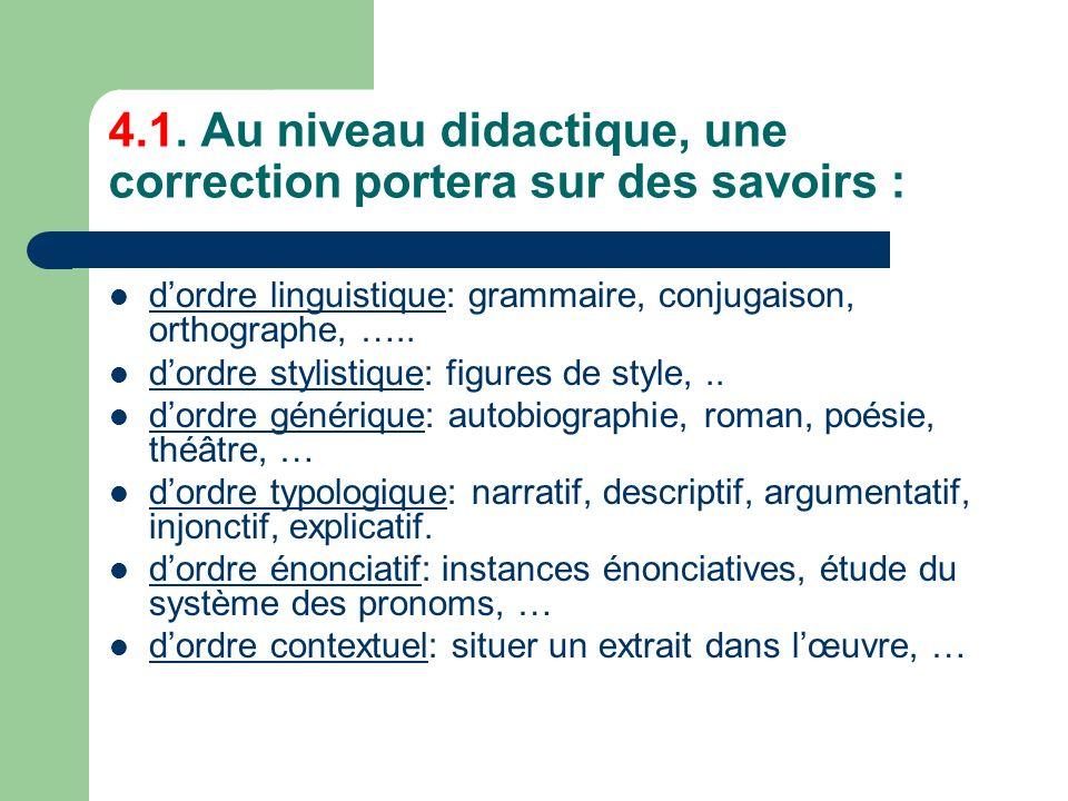 4.1. Au niveau didactique, une correction portera sur des savoirs : dordre linguistique: grammaire, conjugaison, orthographe, ….. dordre stylistique: