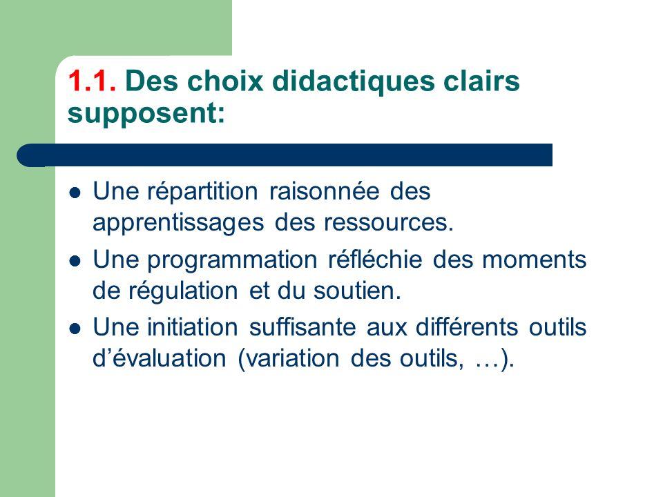 1.1. Des choix didactiques clairs supposent: Une répartition raisonnée des apprentissages des ressources. Une programmation réfléchie des moments de r