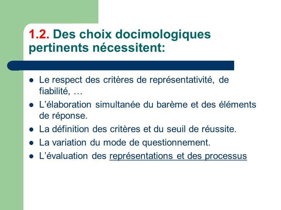 1.2. Des choix docimologiques pertinents nécessitent: Le respect des critères de représentativité, de fiabilité, … Lélaboration simultanée du barème e