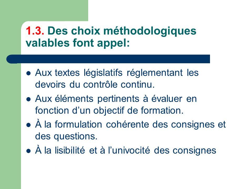 1.3. Des choix méthodologiques valables font appel: Aux textes législatifs réglementant les devoirs du contrôle continu. Aux éléments pertinents à éva