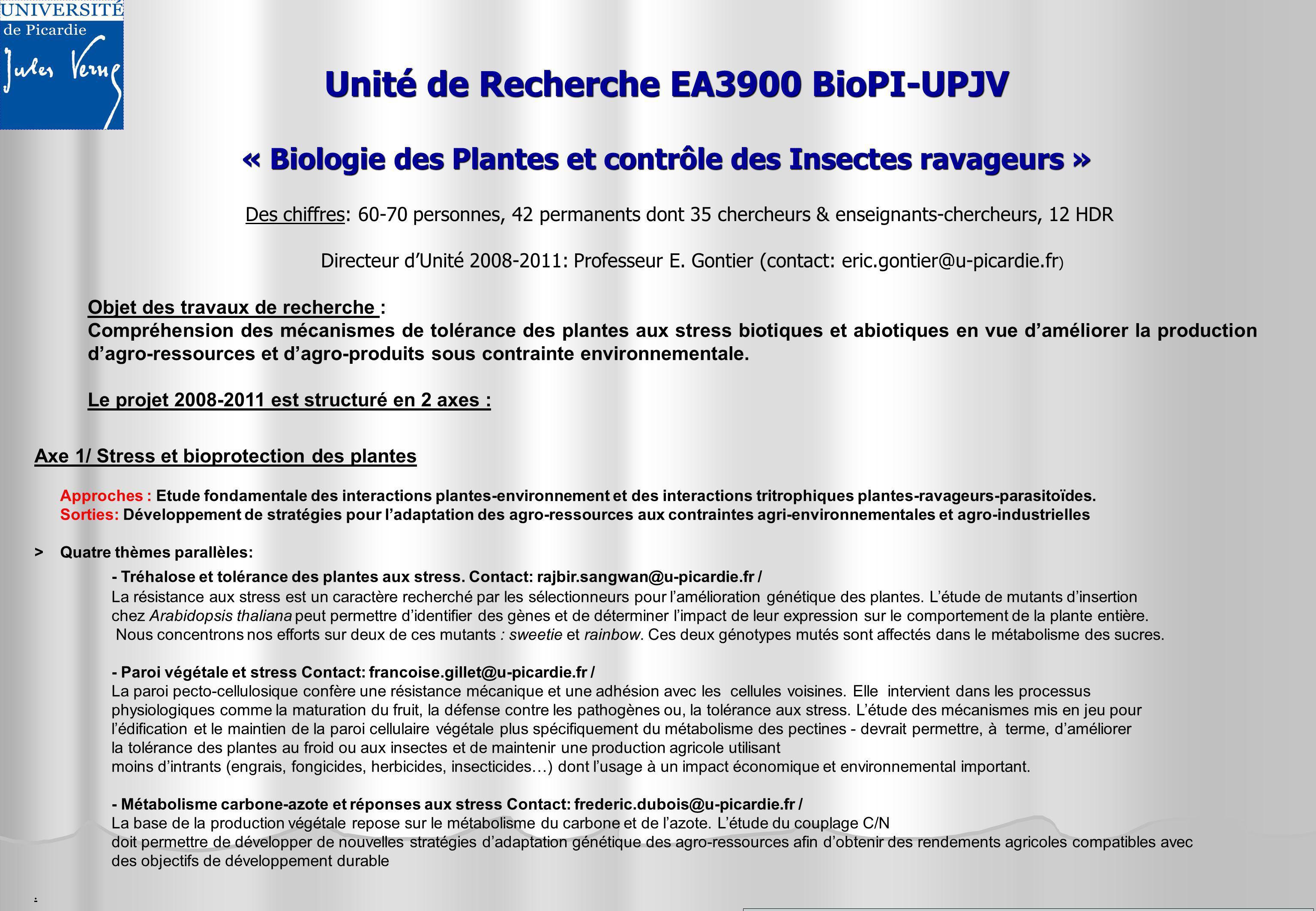 Unité de Recherche EA3900 BioPI-UPJV « Biologie des Plantes et contrôle des Insectes ravageurs » Des chiffres: 60-70 personnes, 42 permanents dont 35