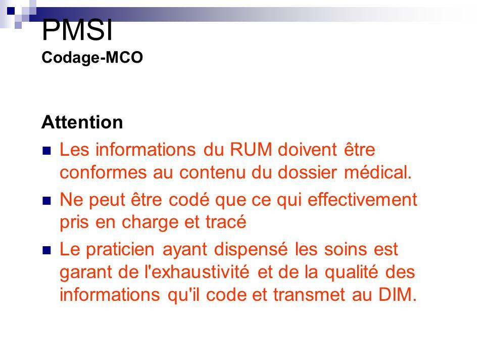 PMSI Codage-MCO Attention Les informations du RUM doivent être conformes au contenu du dossier médical.