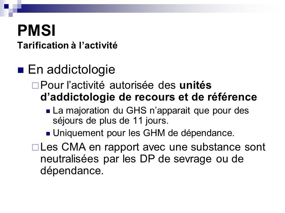 PMSI Tarification à lactivité En addictologie Pour lactivité autorisée des unités daddictologie de recours et de référence La majoration du GHS napparait que pour des séjours de plus de 11 jours.