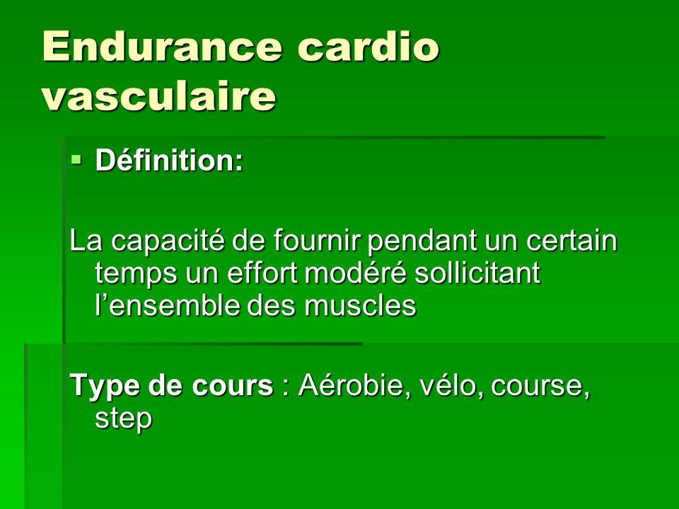 Endurance cardio vasculaire Définition: Définition: La capacité de fournir pendant un certain temps un effort modéré sollicitant lensemble des muscles