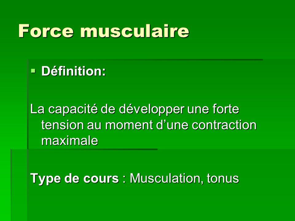 Endurance musculaire Définition: Définition: La capacité de répéter ou de maintenir pendant un certain temps une contraction modérée Type de cours : Musculation, tonus, yoga